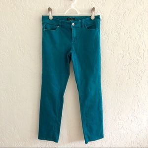WHBM Teal Denim Slim Ankle Five Pocket Jeans 6